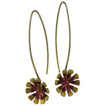 Ti2 titan dubbel tio kronblad blomma droppe örhängen - Brown