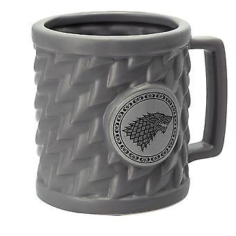 Game of Thrones 3D-Tasse Stark grau, aus Keramik, in Geschenkkarton, Fassungsvermögen ca. 320 ml.