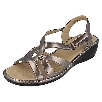 Ladies Eaze Wedge Sandals F3111 Pewter Size UK 6