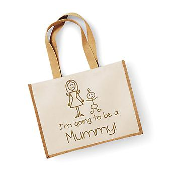 Large Natural Gold Jute Bag I'm Going To Be A Mummy