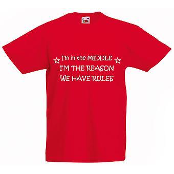 وأنا في منتصف أنا السبب لدينا القواعد التي شيرت أطفال أحمر