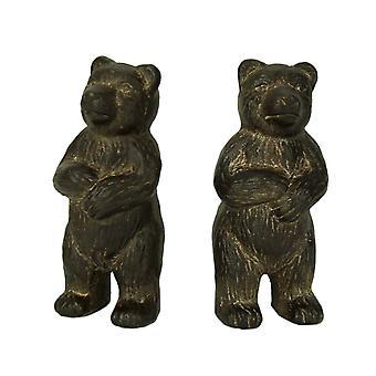 Rustikal braun Gusseisen Standing Bear Buchstützen