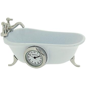 Miniature Vintage White Bathtub Quartz Movement Novelty Collectors Clock IMP1101