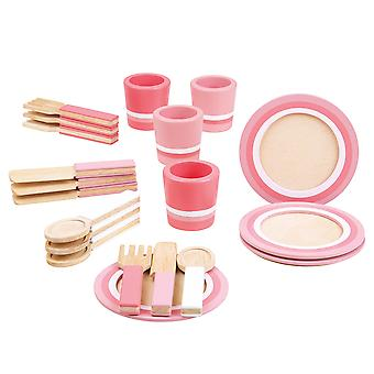 Bigjigs Toys Wooden Pink Dinner Service Set - Pretend Roleplay