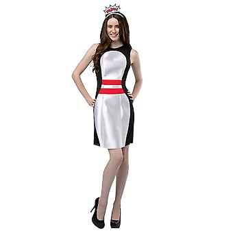 Womens Bowling Pin Dress Game Sport Novelty Funny Fancy Dress Costume