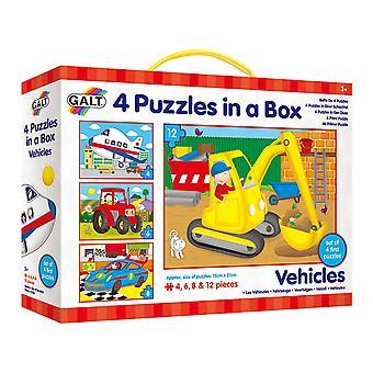 Galt juguetes vehículos 4 rompecabezas en una caja