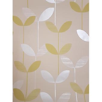 Colar de papel de parede floral verde folha bege perolado da parede texturizado flor