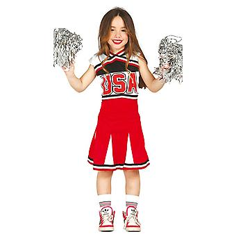 Meisjes Amerikaanse High School Cheerleader Fancy Dress kostuum