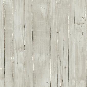 Holz-Effekt Tapete Körner hellgrau braun weiß Paste die Wand Vinyl P + S