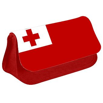 Tonga Flag Printed Design Pencil Case for Stationary/Cosmetic - 0178 (Red) by i-Tronixs
