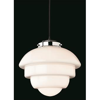 Erstlicht-1 Light Ceiling Pendant Chrome, Opal White Glass-4947CH