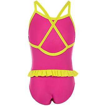 Infant Girls Speedo Moonset Frill Swimsuit In Pink Yellow- Graphic Print Detail