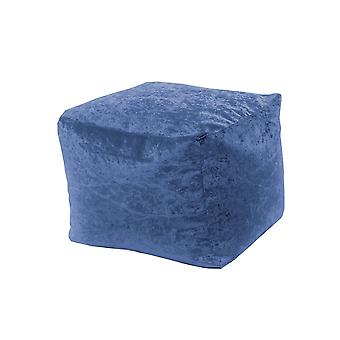 Dusk Square Bean Bag Footstool Pouffe Seat in Shiny Crushed Velvet Fabric