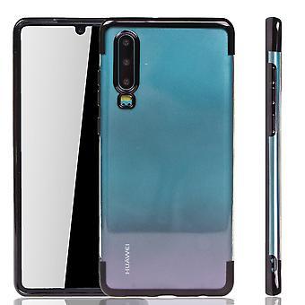 Funda de teléfono para Huawei P30 Black-Clear-TPU Funda protectora backcover en transparente/brillante borde negro