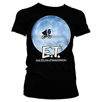 Women's E.T. Bike In The Moon Black T-Shirt
