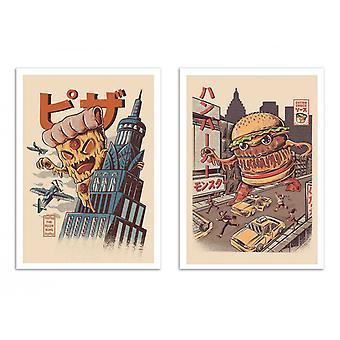 2 Art-Poster - burgerzilla und Pizza kong - Ilustrata