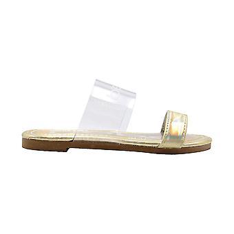 bebe Girls Fashion Sandals Little Kid 2 Band Slide Flip Flops With Holographic Upper & Footbed