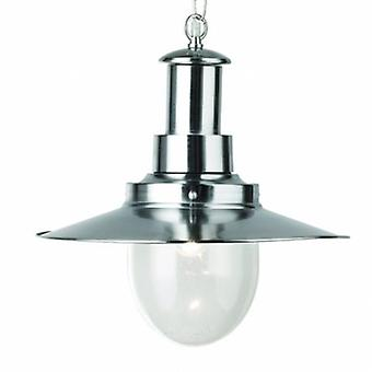 1 Light Dome Ceiling Pendant Satin Silver, Seeded Glass