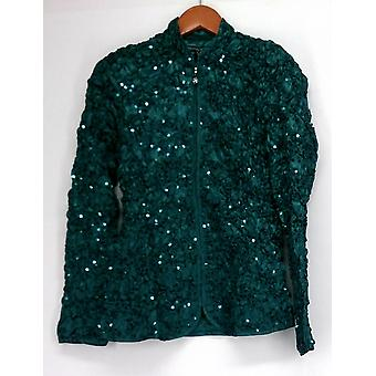 aDRESSing Woman Basic Jacket Zip Front Crinkle Jacket w/ Sequins Green A428165