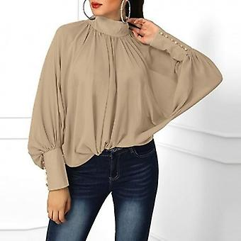 Lantern Sleeve V Neck  Spring Casual Loose Plus Size  Blouse