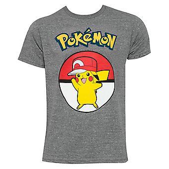 Pikachu dragen hip hop Hat mannen ' s grijs T-shirt