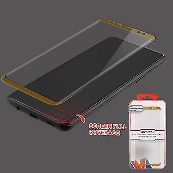 MYBAT Cobertura completa protector de pantalla de vidrio templado / oro para Galaxy S9 Plus