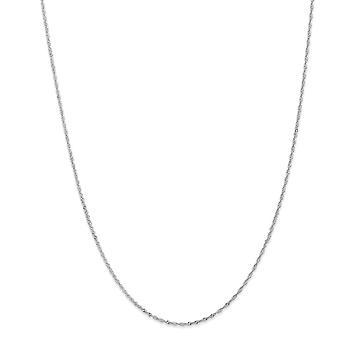 14k Beyaz Altın Katı Bahar Yüzük Sparkle Cut 1.1mm Singapur Zincir Kolye - Uzunluk: 14-30