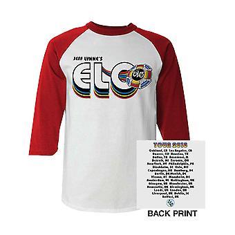 ELO Baseball Shirt Jeff Lynne 2018 World Tour Logo Official Mens 3/4 Sleeve