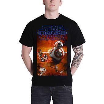 Star Wars 7 force awakens BB8 new Official Mens Black T Shirt