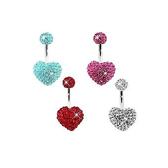 Piercing Belly Hunbril Cuore Moda Ventre Anello Strass Navel Shamballa