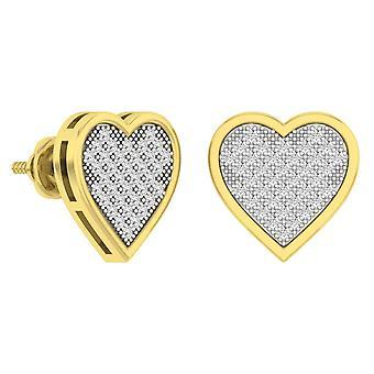 Dazzlingrock Collection 0.50 Carat (ctw) 14K Diamond Heart Earrings, Yellow Gold