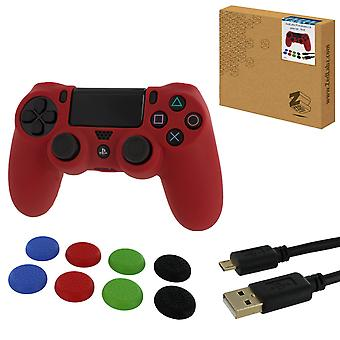Protect & play kit for ps4 inc silicone cover, thumb grips & 3m charging cable - red