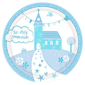 Amscan Communion Church Blue Plates (Pack Of 8)