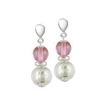 Eterna colección Veneto Rosa Murano Glass tono plata gota perforado pendientes