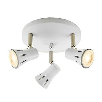 Saxby Lighting Krius 3 Light Spotlight Gloss White, Satin Chrome Plate 75551