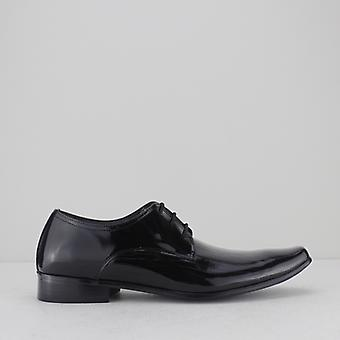 Mister Carlo Oswald Mens Faux Patent Leather Derby Shoes Black