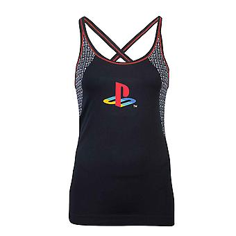 Playstation Vest Classic Logo Tech Seamless new Official Womens Skinny Fit Black
