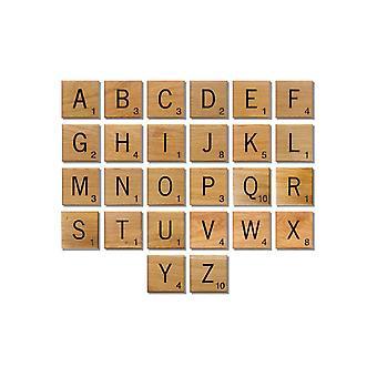 100 Wooden Scrabble Tiles Black Letters Numbers & Scores Square Alphabets Crafts