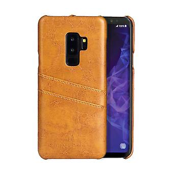 Pour Samsung Galaxy S9 Yellow Deluxe Leather Back Wallet Case, Case Shockproof