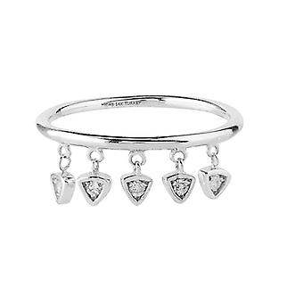 14k White Gold 0.06 Dwt Diamond Dangle Element Ring Jewelry Gifts for Women - Ring Size: 6 to 8