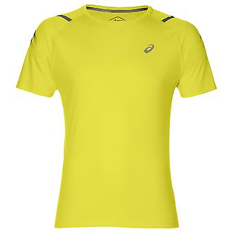 Asics Icon Korte Mouw Mens Running Fitness Training T-Shirt Tee Yellow