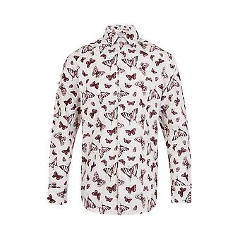 JSS Butterfly Print White Regular Fit 100% Cotton Shirt