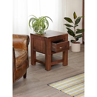 Mayan Walnut One Drawer Lamp Table Brown - Baumhaus