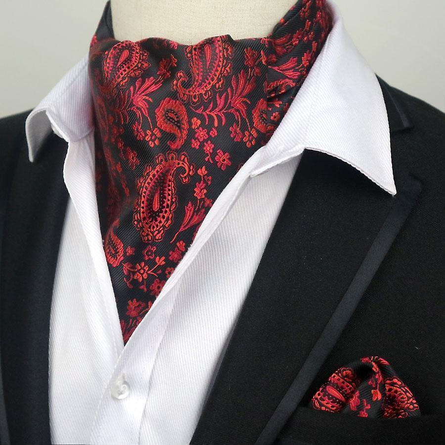 Black & red paisley cravat ascot tie & pocket square