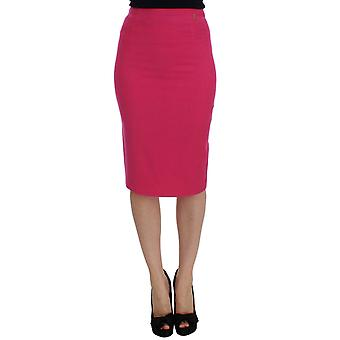 Galliano Pink Wool Stretch Pencil Skirt