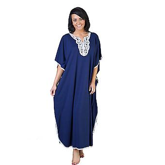 Ladies One Size Kaftans Embroidered Neckline Lace Edging Full Length 9989