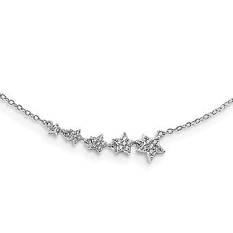 925 Sterling Silver Rh plated Graduating CZ Cubic Zirconia Simulated Diamond Stars With 2inch Ext. Necklace 16 Inch Jewe
