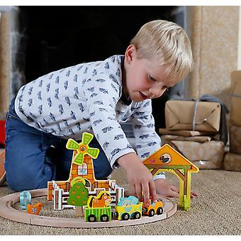 Mundo clássico - primeiro jogo de madeira do trem da jarda da exploração agrícola para miúdos com figurines e edifícios