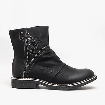 Cipriata Constanza Ladies Zip Up Star Detail Ankle Boots Black