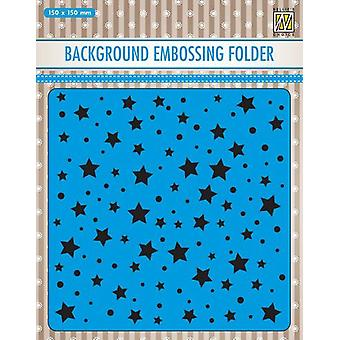 Nellie's Choice Embossing Folder Background stars & dots EEB023 150x150mm